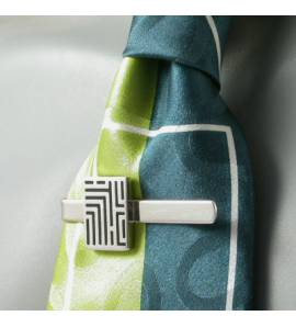 Prendedor de gravata masculino prata Graphique