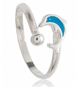 Ringe kind silber Dauphin mini blau