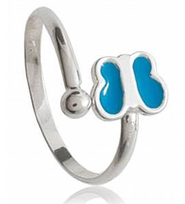 Ringe kind silber Papillon éternel blau