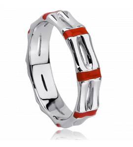 Ringen dames zilver Ligne Bamboo rood