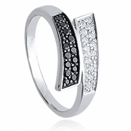 Ringen dames zilver  marquise d'antan zwart