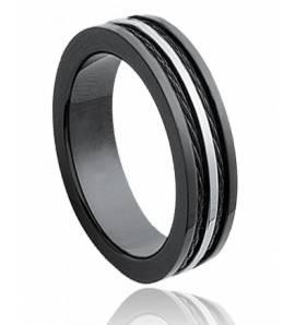 Ringen heren roestvrijstaal Cables 5 zwart