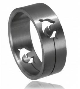 Ringen heren roestvrijstaal Incrustée dauphin