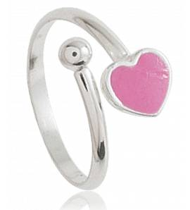 Ringen kind zilver Amour roze