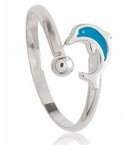 Ringen kind zilver Dauphin mini blauw