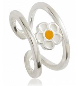 Ringen kind zilver Marguerite naissante geel