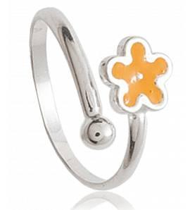 Ringen kind zilver Mini fleur geel