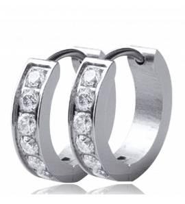 Silver metal creoles earring