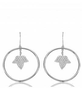 Silver Round Hoop Love Earring