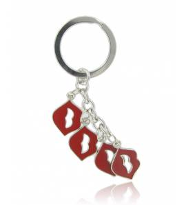 Sleutelhangers dames zilvermetaal Kiss rood