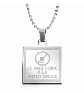 Stainless steel Boire A la Bouteille square necklace
