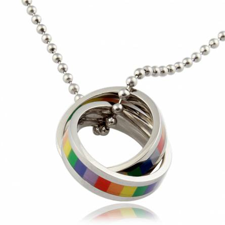 Stainless steel Freddie multicolour necklace