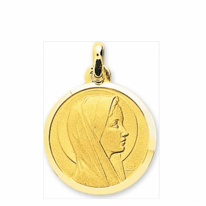 Woman yellow gold sainte vierge murat paris medaillon circular virgin mary gold pendant aloadofball Images