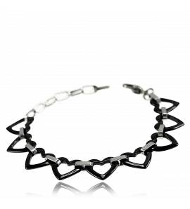 Woman ceramic Marion hearts black bracelet