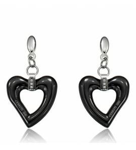 Woman ceramic Shanice hearts black earring