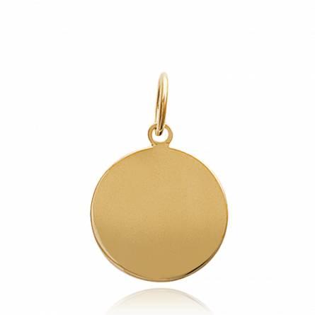 Woman gold plated Ecu vicomte circular pendant