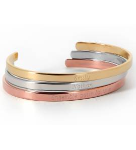 Woman gold plated Jonc Trilogie à Personnaliser yellow bracelet