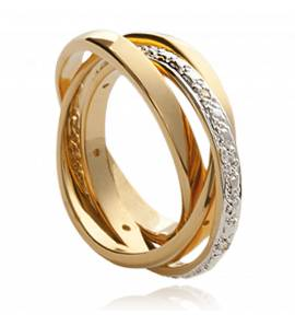 Woman gold plated Triple Anneaux ring