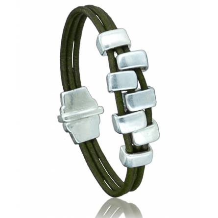 Woman leather Canazei  green bracelet