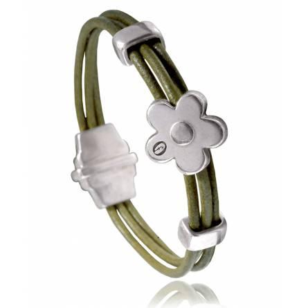Woman leather Dolomiti  green bracelet