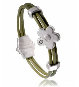 Woman leather Dolomiti  green bracelet