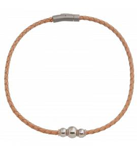 Woman leather Floriane beige necklace