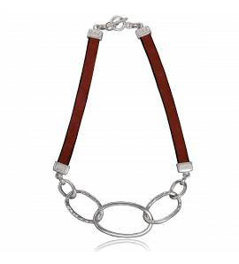 Woman leather Palma  red necklace