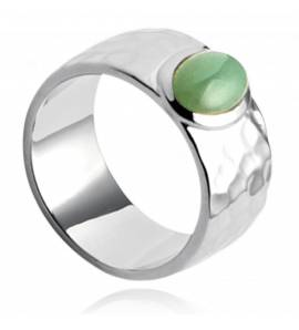 Woman silver Abbey green ring