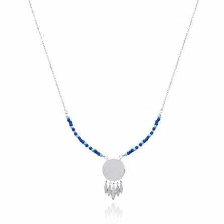 Woman silver Adhémar blue necklace