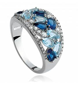 Woman silver Alcippe blue ring