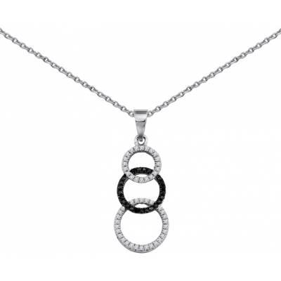 Woman silver Cascade d'éclats black necklace