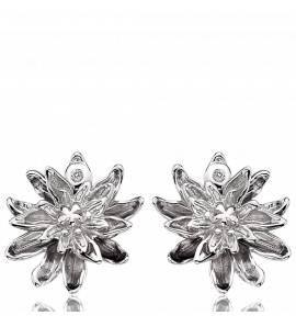 Woman silver Fleur Eternelle earring