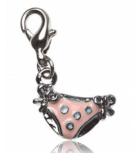 Woman silver metal Culotte pink charms
