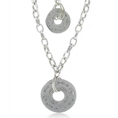 Woman silver metal Donust necklace