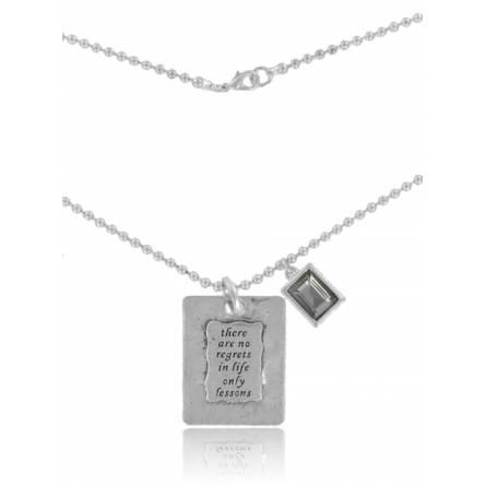 Woman silver metal  no regrets necklace