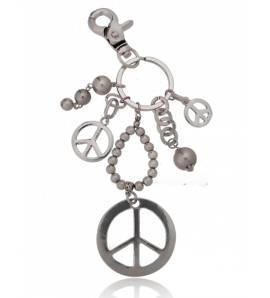 Woman silver metal Symbole de paix key chain