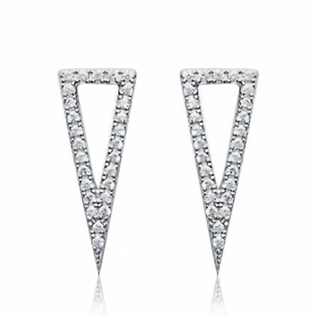Woman silver Scalène grey earring