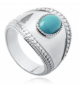 Woman silver Taïs turquoise ring