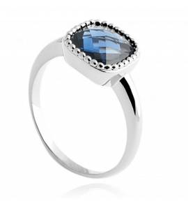Woman silver Tabitha blue ring