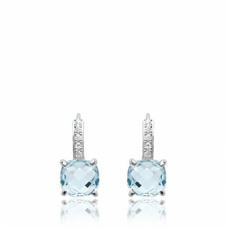 Woman silver Valdenar blue earring