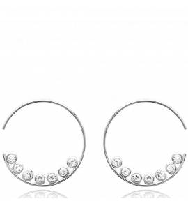 Woman silver Vasco creoles earring
