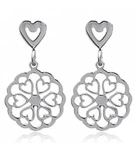 Woman stainless steel Sania hearts grey earring