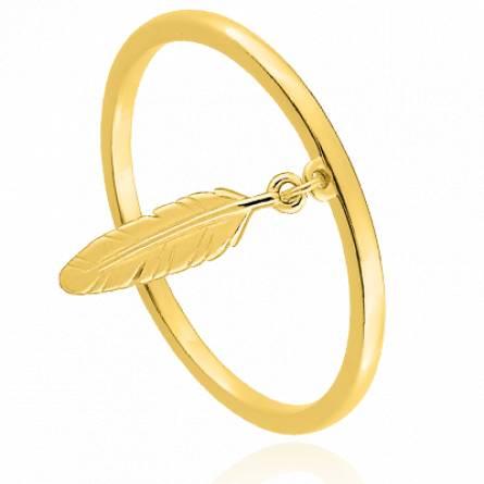 Bague avec pendentif femme plaqué or Alima