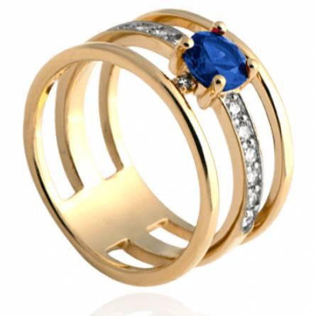 Bague femme plaqué or Aurély bleu
