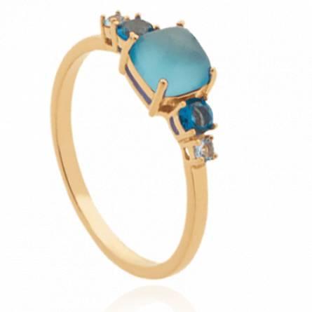 Bague femme plaqué or Belisam bleu