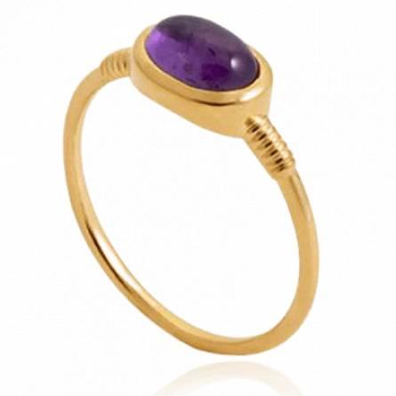 Bague femme plaqué or Krimissi violet