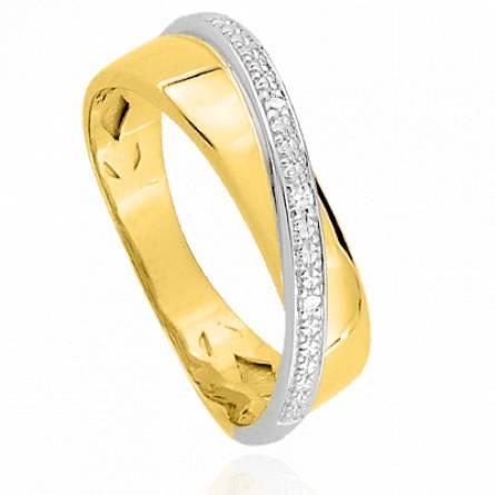 Bague or femme ligne de diamants