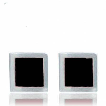 Boucle d'oreille Minimaliste résine carrée
