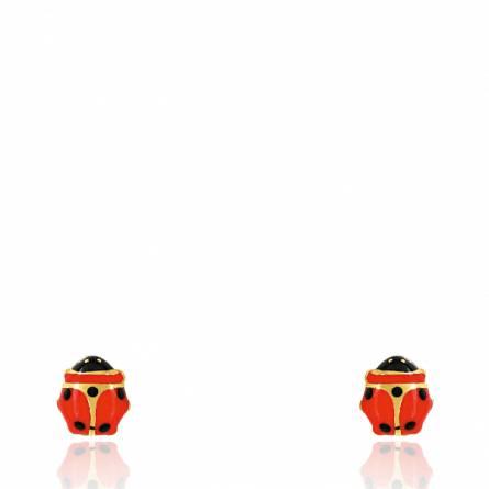 Boucles d'oreilles enfant or Coccinnel rouge