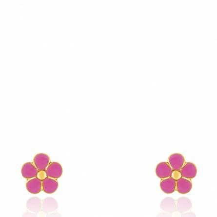 Boucles d'oreilles enfant or Ganha rose